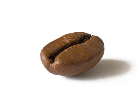 coffee bean as a close-up on white background