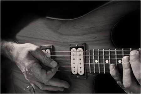 Guitar player in black and whi Stock Photo - 12700006
