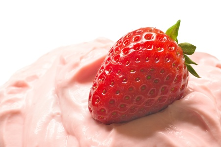 Strawberry on custard in closeup