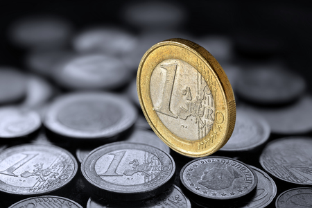 Euro coin on coins Stock Photo