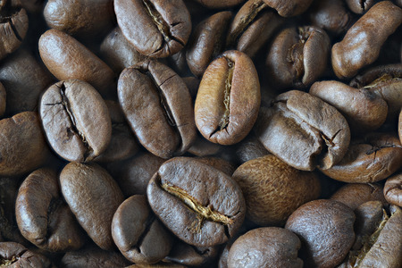Top view of many coffee beans Stock Photo