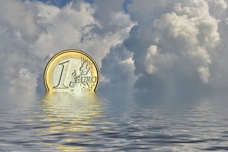 the euro vesinkt in the sea Stock Photo