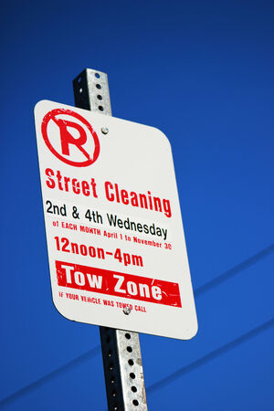 Street Cleaning Sign Stock Photo