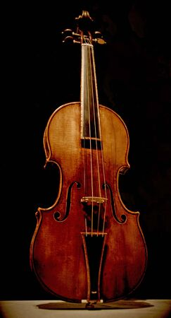 Classical violin against black background