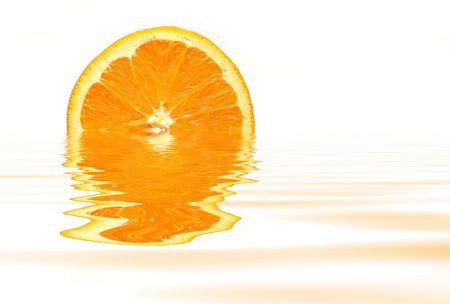 Orange with water reflection on white background Banco de Imagens