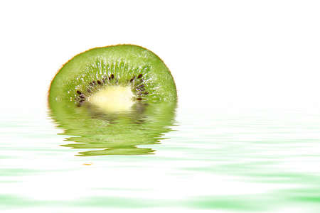 Kiwi with water reflection