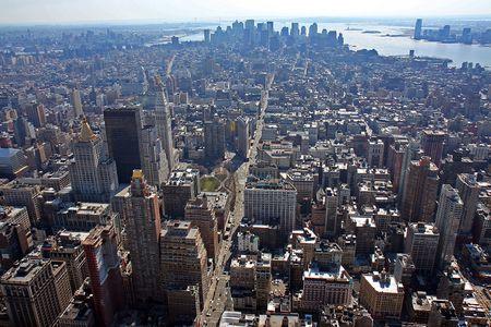 Lower Manhattan aerial view Stock fotó