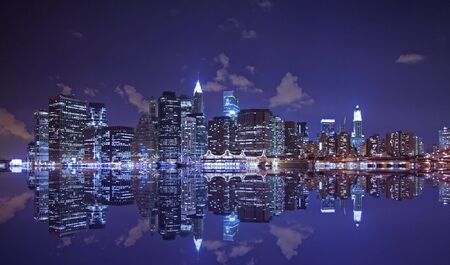 Lower Manhattan and reflection at night Stock Photo - 886734