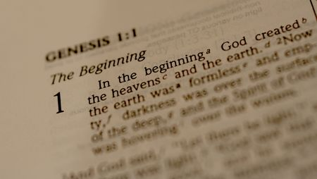 chapter: Bible open to book of Genesis Stock Photo