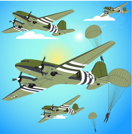 paratroopers jumping Illustration