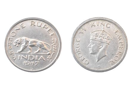 Old Indian One rupee coin 1947 - King george VI
