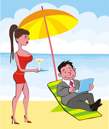 Young, merry sure of itself businessman works at beach, he is weakened, and complacent.  Vector