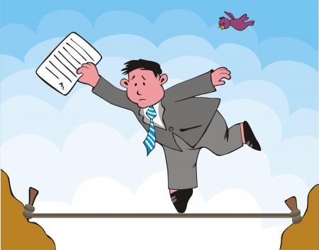 tightrope: De allegorische scène van de zakenman, die risico's. Zwakte, gril van de business Stock Illustratie