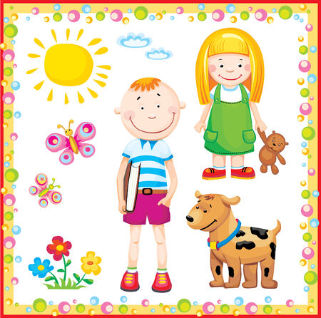 children, family, school, animals, dog, butterfly, girl, boy, flowerses, nature, people, sun, cloud, frame, friendship, joy, friends, brother, sister, book, toy Imagens - 4841567