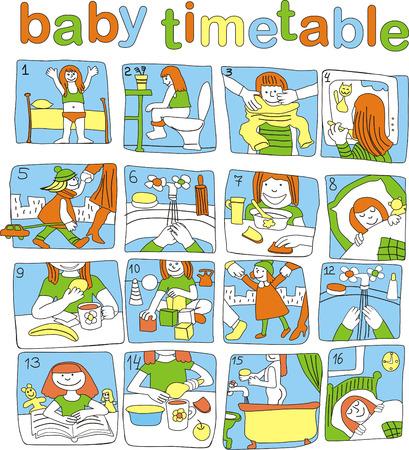 cronograma: calendario de la jornada para el beb� peque�o, que no morir� para leer Vectores