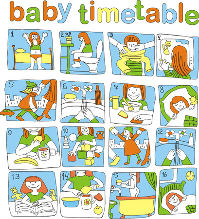 timetable of the day for small baby , which will not die to read Vector