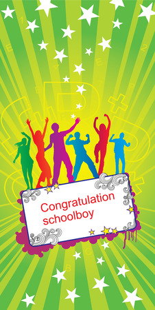 The Group of the young people dances and rejoices. Schoolchildren has finished college