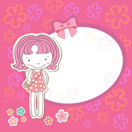 gift background: Little girl with flowers  card