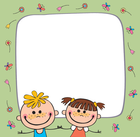 Colorful template for advertising brochure with a group of cute happy cartoon kids playing Illustration