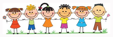 Bunte Vorlage für Werbebroschüre mit einer Gruppe von netten glücklichen Cartoon-Kinder spielen Standard-Bild - 53974526