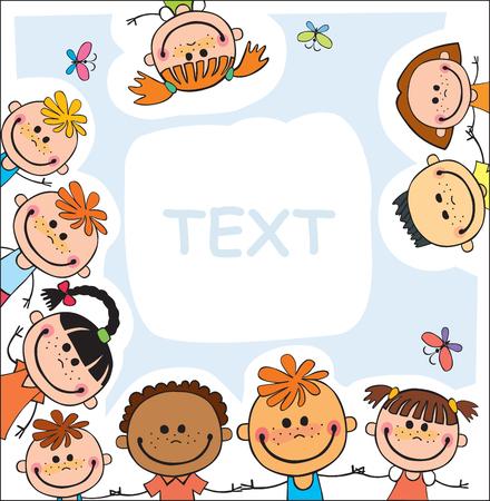 广告小册子的五颜六色的模板与一个小组逗人喜爱的愉快的动画片孩子使用