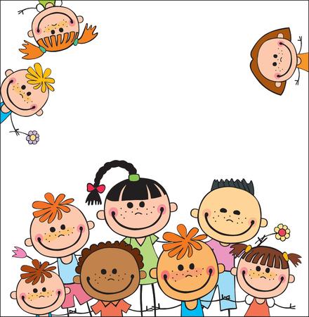 Plantilla de colores para el folleto publicitario con un grupo de niños felices lindos de la historieta que juega