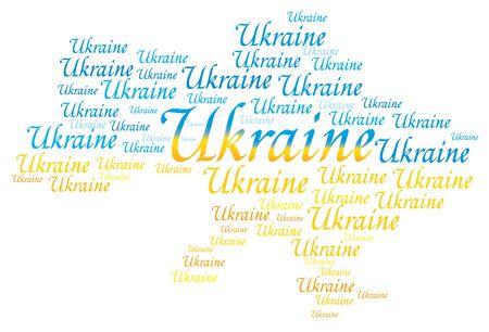 Ukraine mot de vecteur nom de lettrage texte drapeau