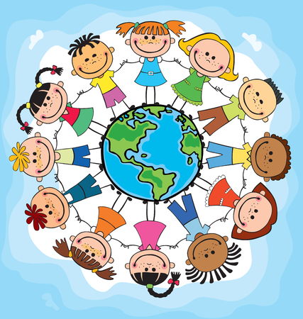 Globe kids. International friendship day. Earth day. Vector illustration of diverse Children Holding Hands.