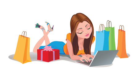 Happy Woman vector shopping online .Internet Shopping