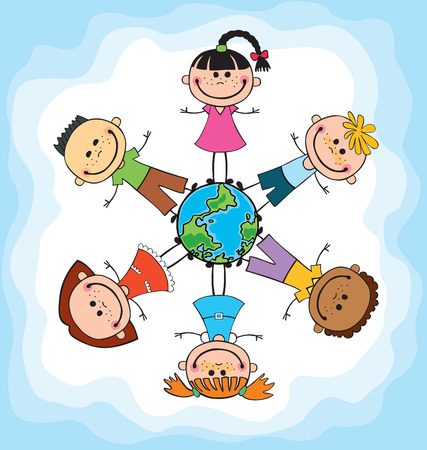 Globe kids. International friendship day. Earth day. Vector illustration of diverse Children Holding Hands. Imagens - 56227929