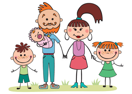 women   s clothes: Vector illustration, cartoon family,  5 people holding hands Illustration