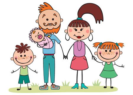 Vector illustration, cartoon family,  5 people holding hands Ilustração