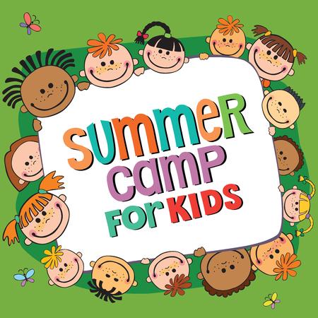 beaucoup d'enfants autour de la bannière, lettrage camp d'été, Vector illustration.