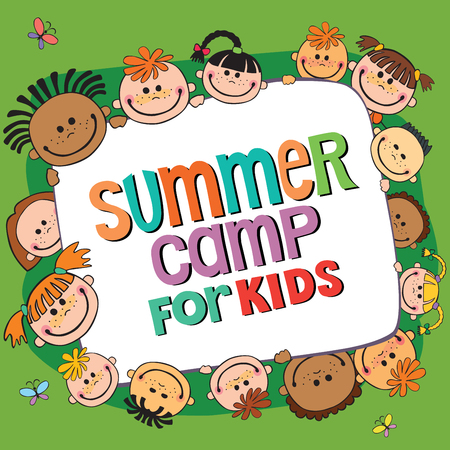 many kids around the banner, lettering summer camp, Vector illustration. Vettoriali