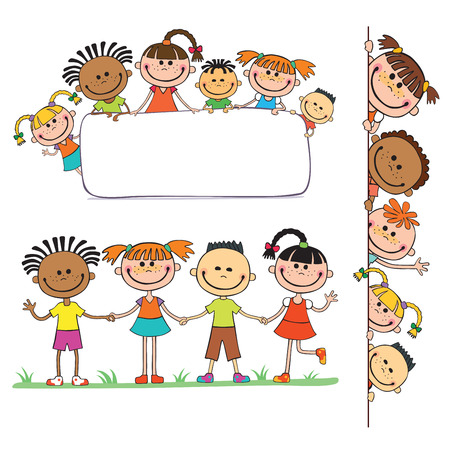 peeping: illustration of kids peeping behind placard children together vector