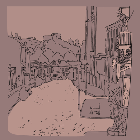 old street: Vector monochrome sketch of city town the urban landscape of the old street. St. Andrew s in Kiev, Ukraine, buildings, yard