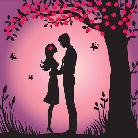 jovenes enamorados: Ilustraci�n negro silueta de los amantes que abrazan en un fondo blanco Pareja en el amor Ilustraci�n de los amantes de hombre y mujer flor de sakura visualizaci�n