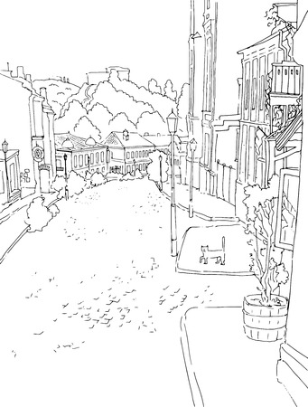 urban city: Vector black white sketch of city town the urban landscape of the old street. St. Andrew s in Kiev, Ukraine, buildings, yard