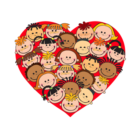 internationally: Cartoon baby faces in heart shaped frame vector face love smile illustration, childhood, kid, global associations, unions, internationally crowd many society,  joy