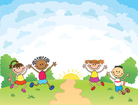 bunner: children are jumping on the glade, bunner cartoon funny vector, Template for advertising brochure. Ready for your message. blank template  character. illustration Illustration