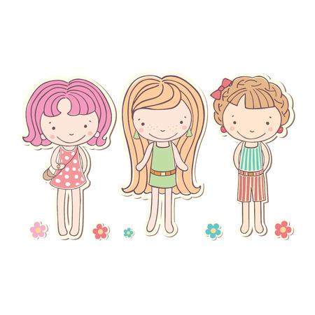 little girls: three girls little funny isolated, vector illustration Illustration