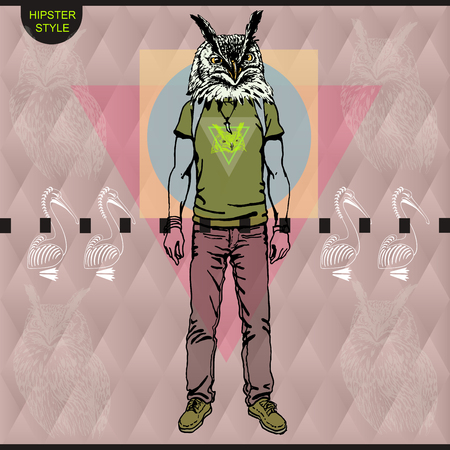 designe: Poster in hipster style. Hand drawn illustration of fashion guy travel animal birds on triangle designe.