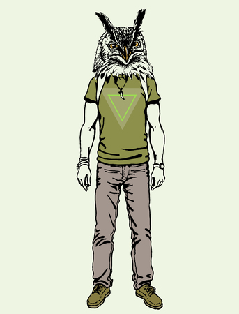 designe: Poster in hipster style. Hand drawn illustration of fashion guy travel animal birds on triangle designe.  owl Illustration