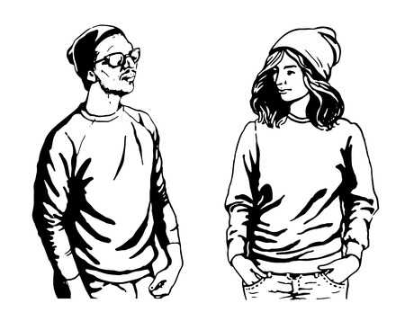 illustraton: Young people hipster vector girl, woman, fashion student, young man, teenager, guy casual illustraton