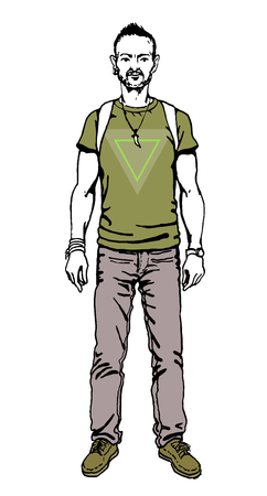designe: Poster in hipster style. Hand drawn illustration of fashion guy travel  on triangle designe.