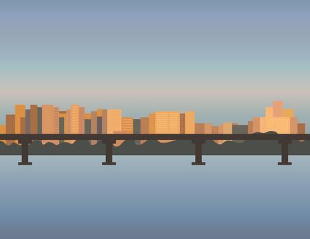 river vector: City Skyline cityscape, bridge building sunset river vector illustration