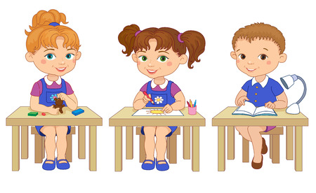 pupil's: Funny pupils sit on desks read draw clay cartoon isolated illustration