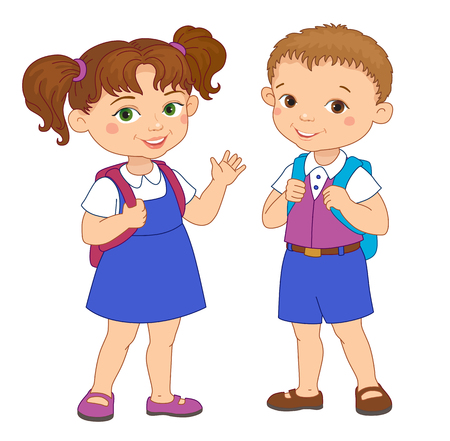 cheerfully: Boy and girl with backpacks pupil stay cartoon school isolated vector