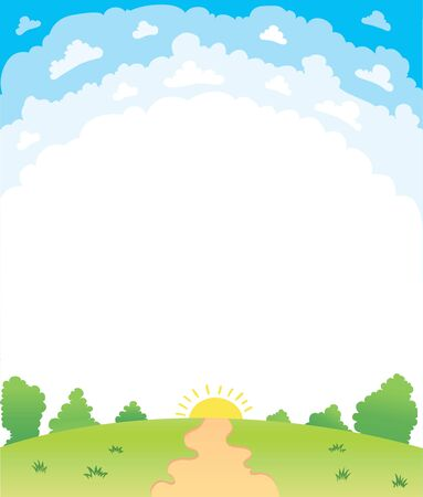grasslands: Vector illustration of a beautiful summer landscape lawn vector banner of the forest glade Stock Photo