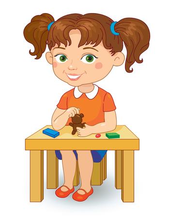 mould: Kindergarten girl making plasticine figures cartoon vector illustration isolated on white background.